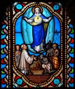Langonnet - vitrail Libermann dans la salle capitulaire (chapelle)